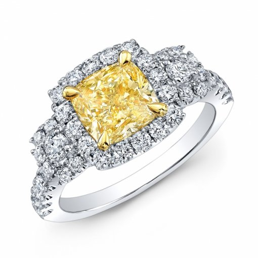 2.49ct EGL Cushion 18K White Gold Halo Engagement Ring fancy Intense Yellow/VS2
