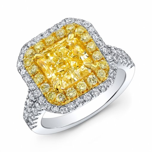 4.18ct EGL Radiant 18K Two Tone Halo Engagement Ring Fancy Yellow/VS1