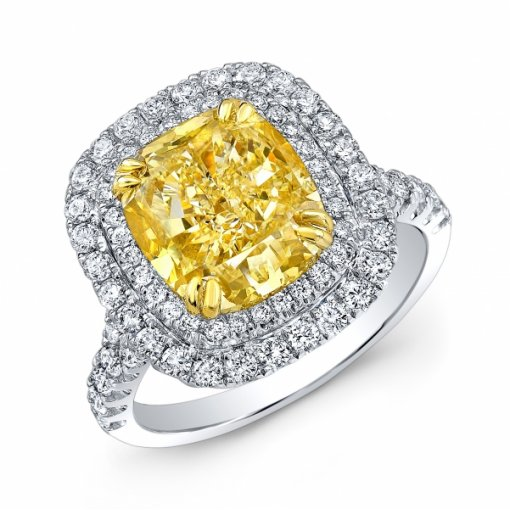 5.54ct EGL Cushion 18K White Gold double halo French Pave Engagement Ring  Fancy Intense Yellow/VVS2