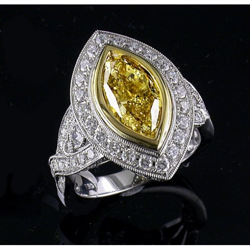 4.38ct GIA Marquise 18K White Gold Halo French Pave Engagement Ring fancy Intense Yellow