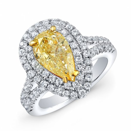 2.06ct EGL Pear 18K White Gold Double Halo Split Shank Engagement Ring Fancy Yellow/SI2