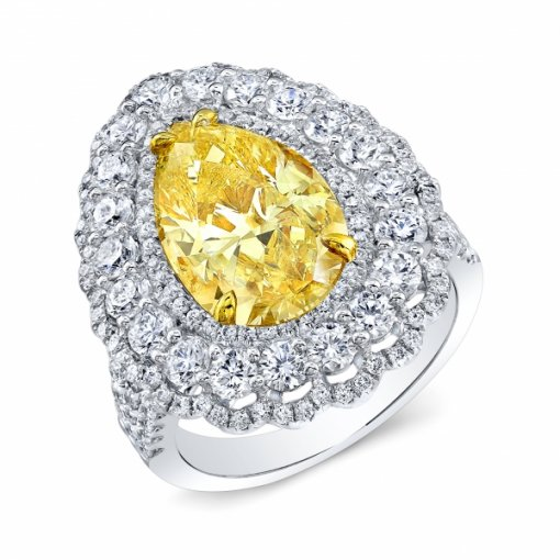 5.75ct EGL Pear 18K White Gold double halo French Pave Engagement Ring  Fancy Yellow/VVS1