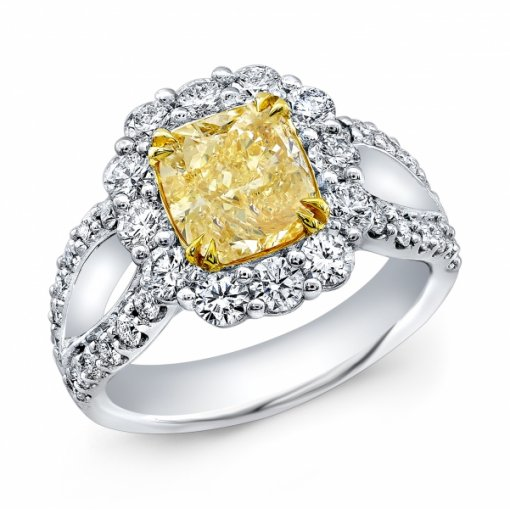 3.34ct EGL Cushion 18K White Gold Halo Split Shank Engagement Ring Fancy Yellow/SI2