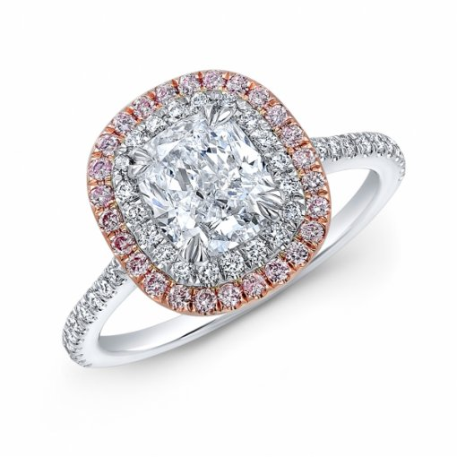 1.83ct GIA Cushion 18K White Gold Halo French Pave Engagement Ring D/VS1