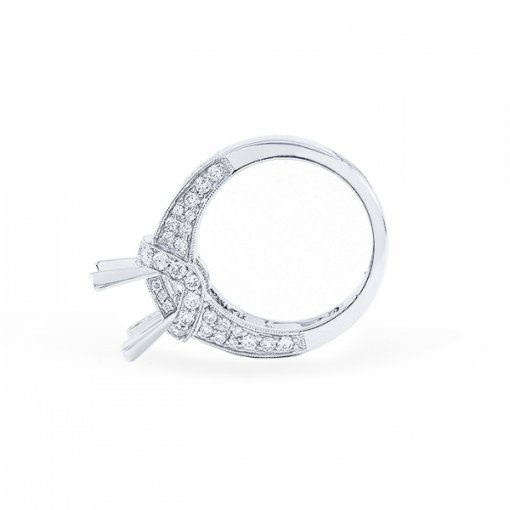 Semi- mount 18K White Gold Prong style French Pave Engagement Ring