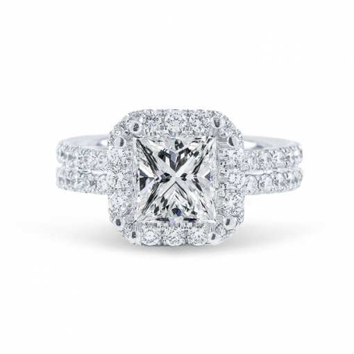Semi- mount 18K White Gold Halo French Pave Engagement Ring