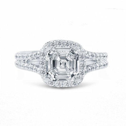 Semi- mount 18K White Gold Halo Split-Shank Engagement Ring