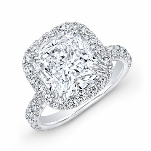 6.08ct EGL Cushion 18K White Gold Halo French Pave Engagement Ring H/SI1