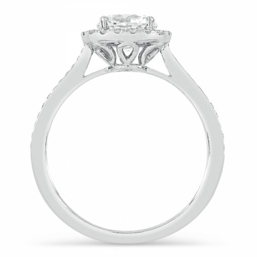 1.26ct Round Cut White Gold Halo Engagement Ring
