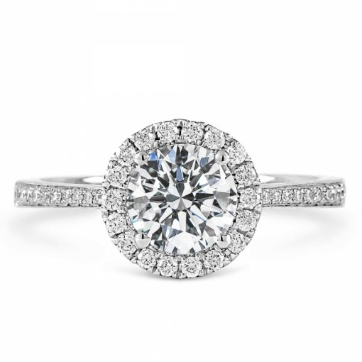 1.28ct Round Cut White Gold Halo Engagement Ring