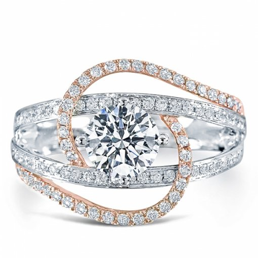 1.76ct Round Diamond Two Tone By Pass Engagement Ring