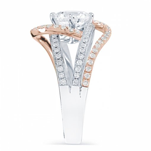 1.86ct Round Cut Two Tone By Pass Engagement Ring