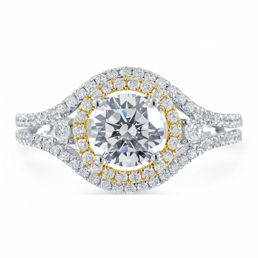 1.5ct Round Cut Two Tone Gold Diamond Engagement Ring