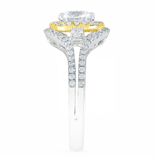 1.58ct Round Cut Two Tone Gold Diamond Engagement Ring