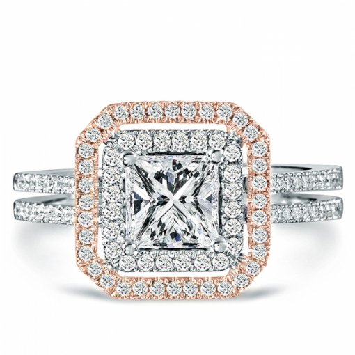 1.43ct Princess Cut Two Tone Gold Pave Diamond Engagement Ring