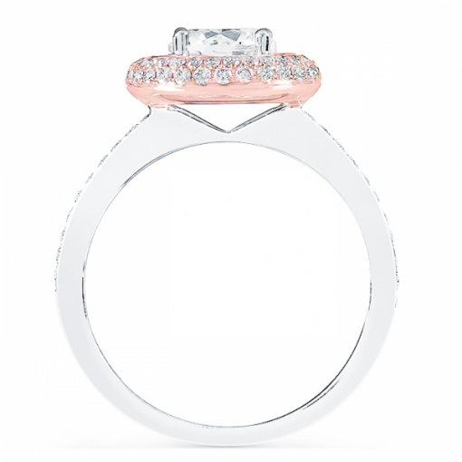 1.46ct Round Cut Two Tone Gold Pave Diamond Engagement Ring