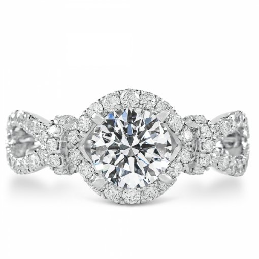 1.63ct Round Cut White Gold Pave Diamond Engagement Ring