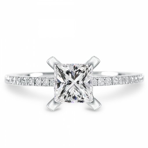 1.06ct Princess Cut White Gold Pave Shank Diamond Engagement Ring