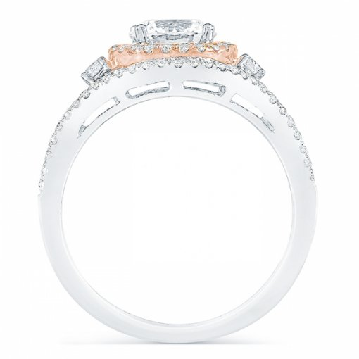 1.52ct Round Cut Two Tone Gold Halo Diamond Engagement Ring