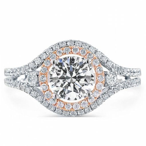 1.57ct Round Cut Two Tone Gold Halo Diamond Engagement Ring