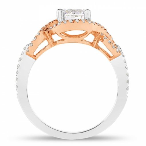 1.39ct Round Cut Two Tone Gold Halo Diamond Engagement Ring