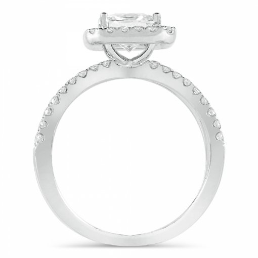 1.9ct Princess Cut White Gold Halo Diamond Engagement Ring