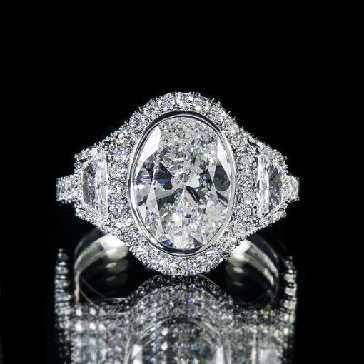 4.52ct EGL Classic Pave Halo Oval Diamond Engagement Ring G/SI2