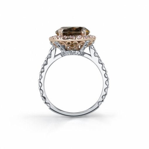 4.50ct Oval 14K Two Tone Brown Topaz Center and Round Diamond Engagement Ring