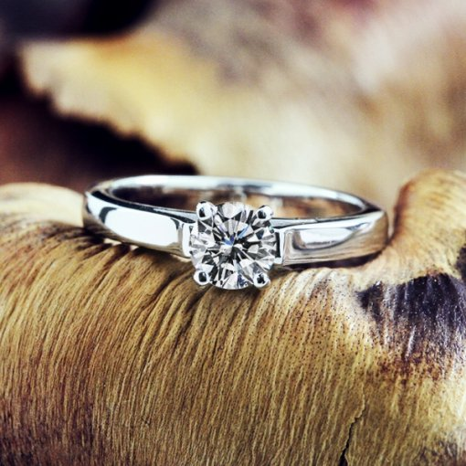 0.51ct EGL USA Round 18K White Gold Solitaire Engagement Ring D/VS2