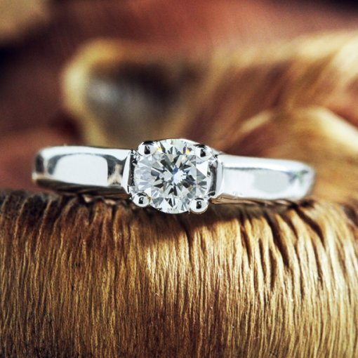 0.63ct EGL USA Round 18K White Gold Solitaire Engagement Ring G/SI1
