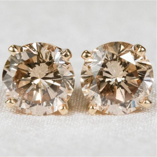 0.50ct  Round 14K White Gold Champagne Studs Earrings