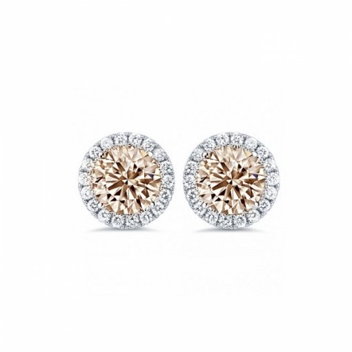 0.85ct Round 14K White Gold Champagne Studs Earrings With Diamond Jackets