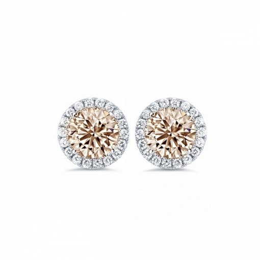1.15ct Round 14K White Gold Champagne Studs Earrings With Diamond Jackets