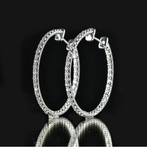 3.00ct Round 14K White Gold Big Hoops Pave Diamond Earrings F-G/VS2