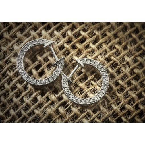 1.25ct Round 14K White Gold Pave Hoops Earrings F-G/VS2