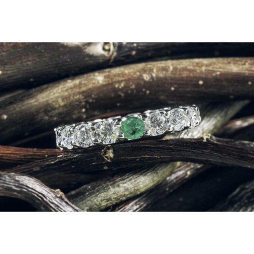 3.30ct Round Diamond Eternity Band With Green Emerald Gemstone