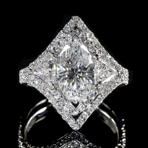 3.46ct EGL Marquise 18K White Gold Halo Engagement Ring H/VS1