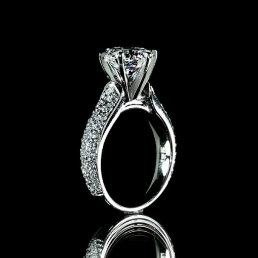 3.38ct GIA Round 18K White Gold Pave Engagement Ring I/SI1