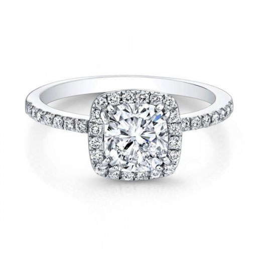 2.13ct Cushion Cut Pave Halo Diamond Engagement Ring