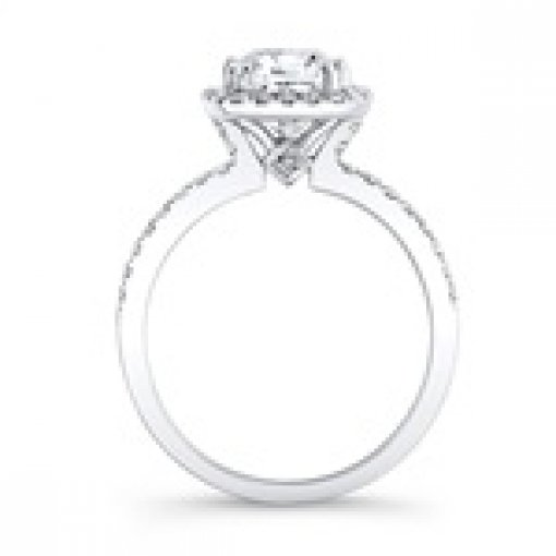 2.14ct Cushion Cut Pave Halo Diamond Engagement Ring