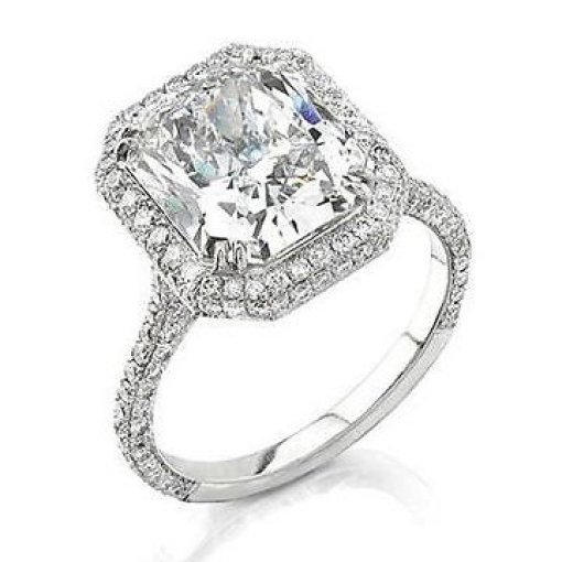 3.51ct GIA Vintage Halo Style Diamond Engagement Ring with Pave set side stones G/VVS1