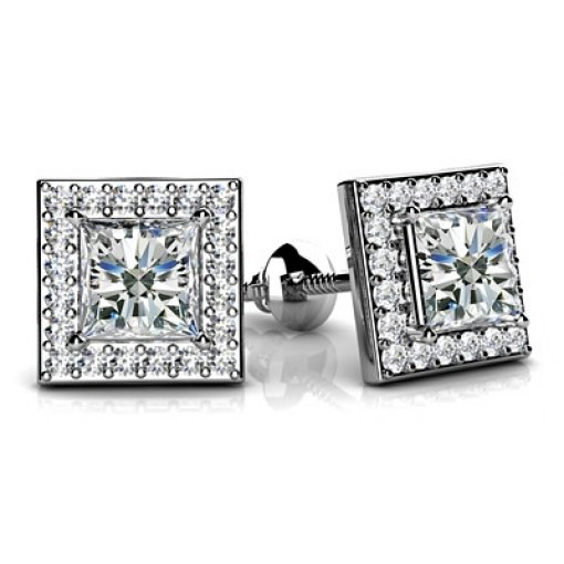 1.1 Carat Princess Diamond Earrings
