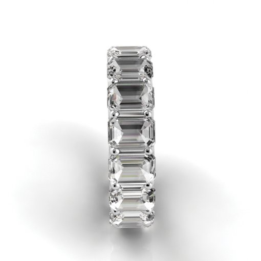 7.5 TCW Emerald Diamond U-Prong Set Eternity Band in White Gold (F-G COLOR, VS2 CLARITY)