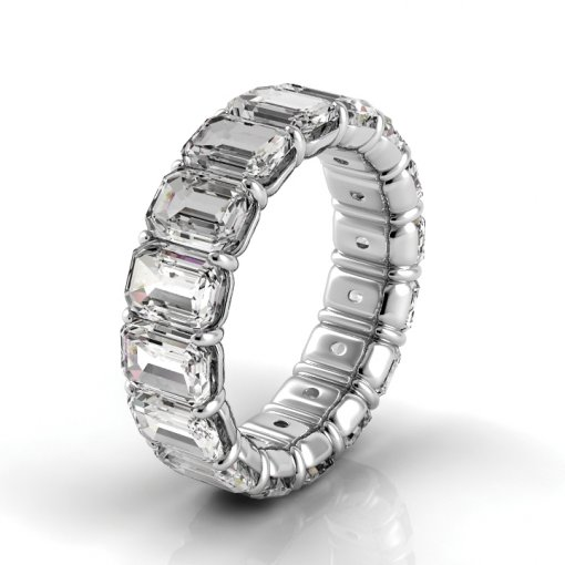 7.5 TCW Emerald Diamond Petite Prong Set Eternity Band in Platinum (F-G COLOR, VS2 CLARITY)