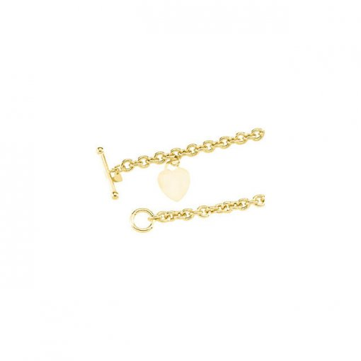 14K Yellow Rolo Bracelet with Small & Large Heart Dangles