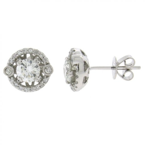 1.02 Carat  Diamond Earrings