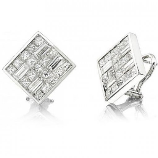 4.45 Carat Princess Diamond Earrings