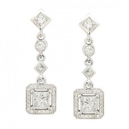 1.63 carat Princess Diamond Earrings