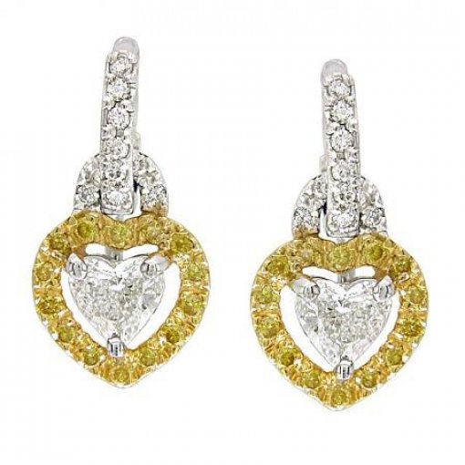 1.32 Carat Heart Diamond Earrings