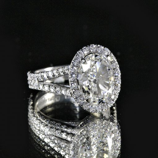 3.16ct GIA  18K White Gold Oval Cut Diamond Engagement Ring H/VS1